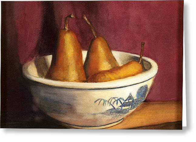Cindy Plutnicki Greeting Cards - Blue Willow with Pears Greeting Card by Cindy Plutnicki