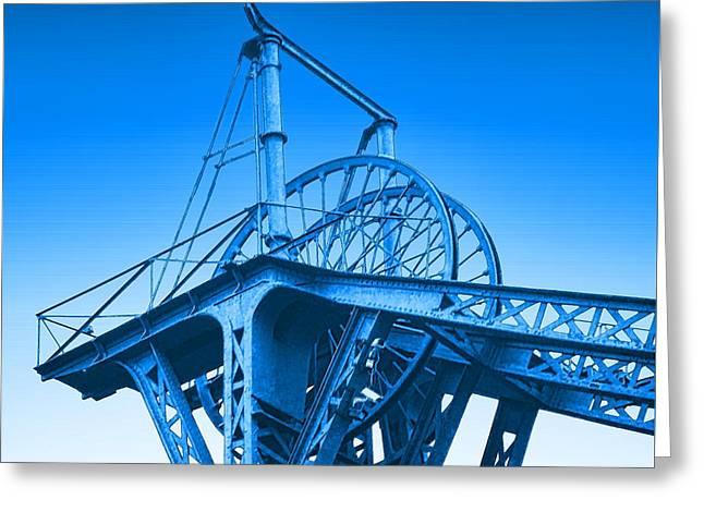Blue Winding Wheels Greeting Card by John Lynch