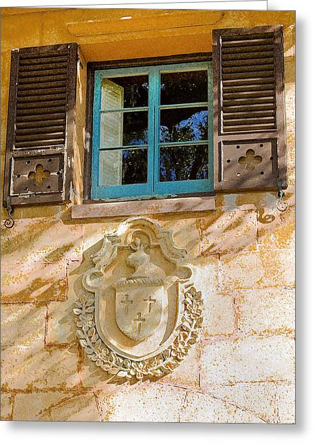 Historic Home Greeting Cards - Blue Window and Medallion DB Greeting Card by Rich Franco