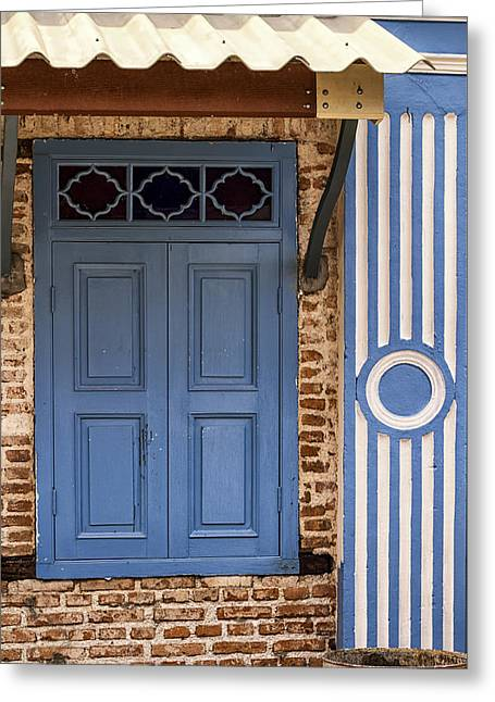 Phuket Greeting Cards - Blue Window Door Greeting Card by Nomad Art And  Design