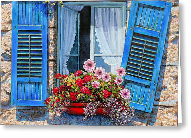 Flower Boxes Drawings Greeting Cards - Blue window Greeting Card by Miki Karni