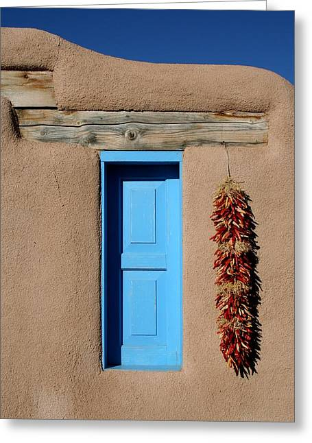 Blue Window Of Taos Greeting Card by Heidi Hermes