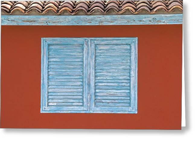 David Letts Greeting Cards - Blue Window Shutter of Aruba Greeting Card by David Letts