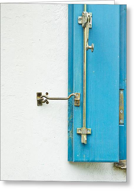 Industrial Background Greeting Cards - Blue window shutter Greeting Card by Tom Gowanlock