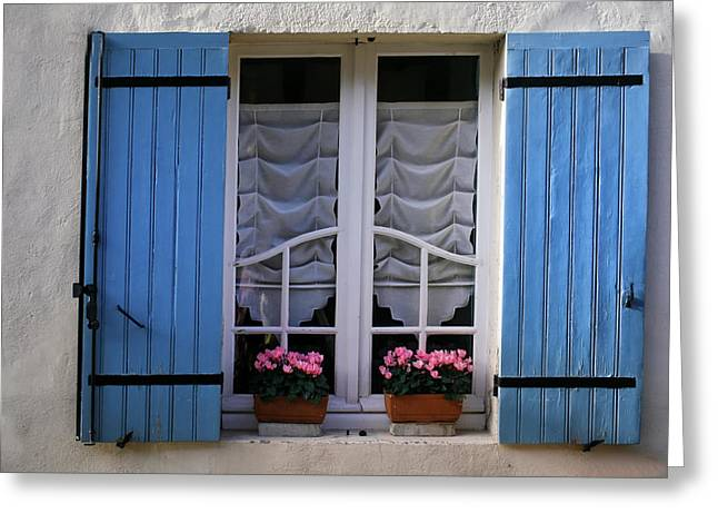 Window Ledge Photographs Greeting Cards - Blue window shutters Greeting Card by Nomad Art And  Design