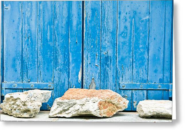 Old Relics Greeting Cards - Blue window shutters Greeting Card by Tom Gowanlock