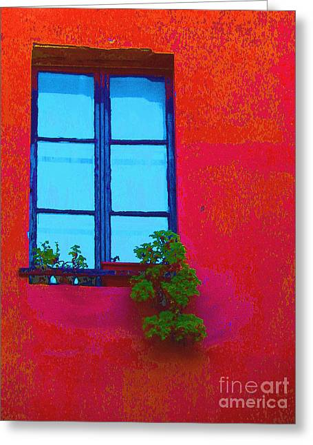 Tangerines Greeting Cards - Blue Window With Flowers Greeting Card by Ann Johndro-Collins