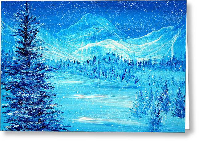 Kinkade Greeting Cards - Blue Winter Greeting Card by Ann Marie Bone
