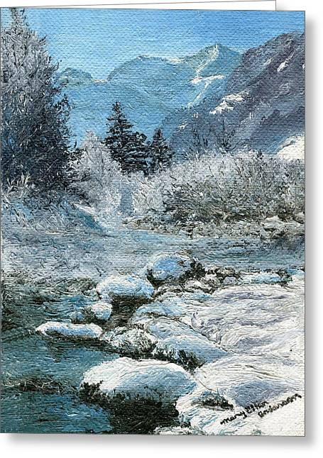 Mary Ellen Anderson Greeting Cards - Blue Winter Greeting Card by Mary Ellen Anderson