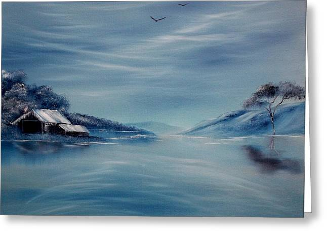Drifting Snow Paintings Greeting Cards - Blue Winter Reflections Greeting Card by Cynthia Adams
