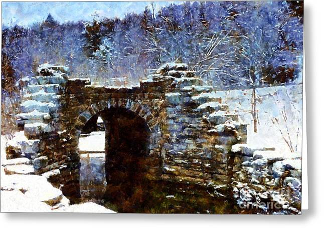 Blue Winter Stone Bridge Greeting Card by Janine Riley