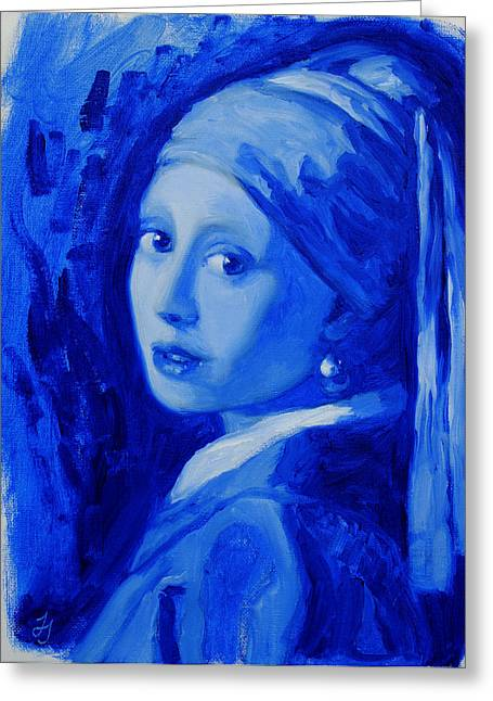 Girl With A Pearl Earring Greeting Cards - Blue With a Pearl Earring    after Vermeer Greeting Card by Jessica Johnson