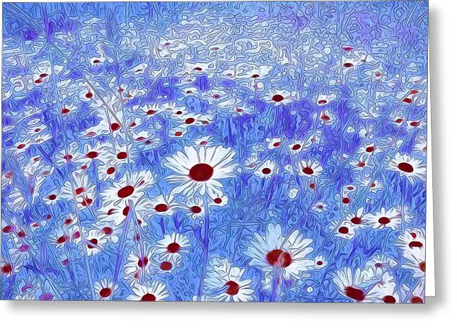 Your Home Mixed Media Greeting Cards - Blue With White Daisies Greeting Card by Georgiana Romanovna