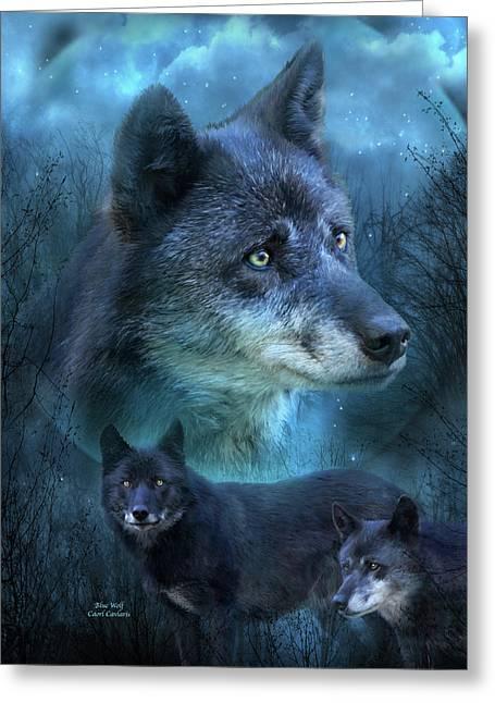 Blue Wolf Greeting Card by Carol Cavalaris