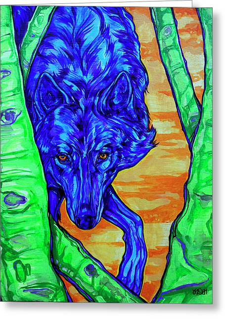 British Columbia Greeting Cards - Blue Wolf Greeting Card by Derrick Higgins