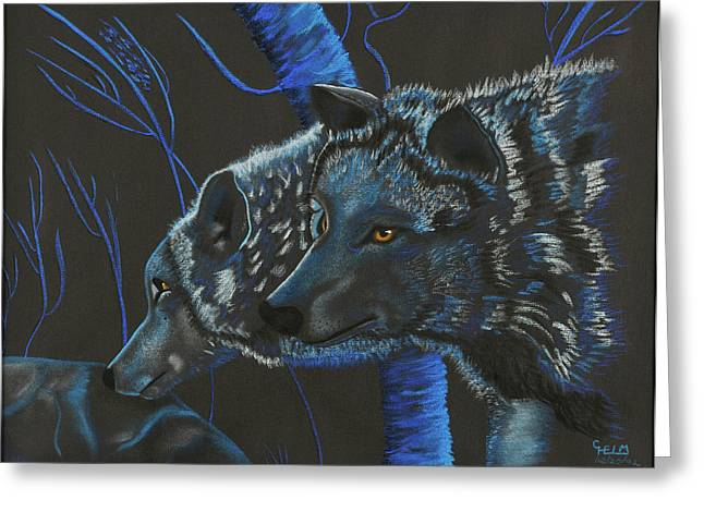 Photographs Pastels Greeting Cards - Blue Wolves Greeting Card by Mayhem Mediums