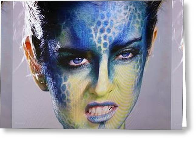 Abstract Expression Greeting Cards - Blue Woman Grrr 3 Greeting Card by Rob Hans