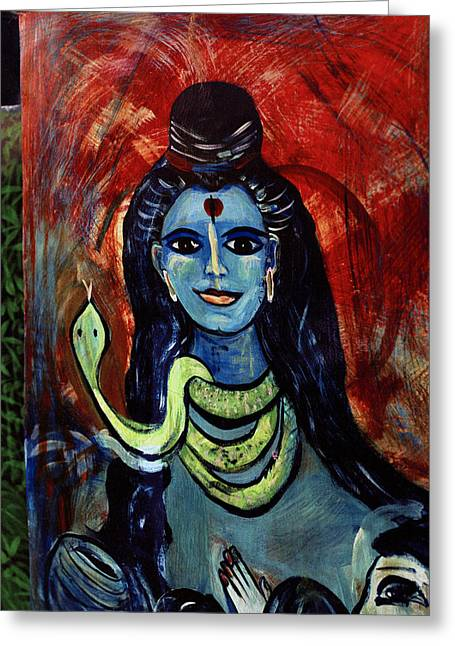 Mystic Art Greeting Cards - Lady And Snake Greeting Card by Shaun Higson