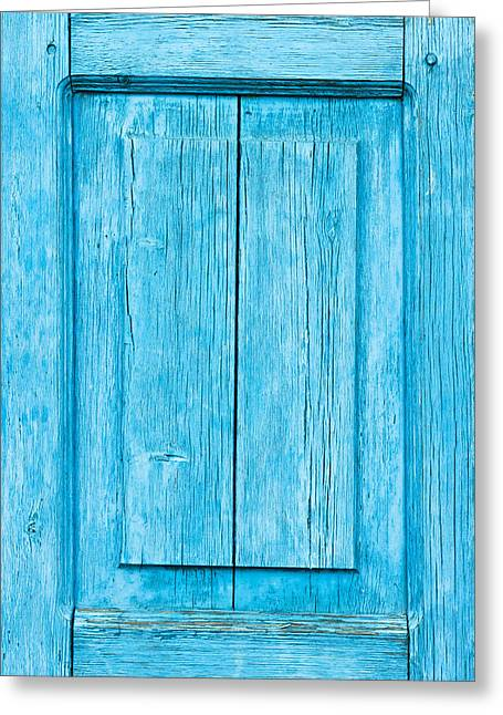 Seam Greeting Cards - Blue wood panel Greeting Card by Tom Gowanlock