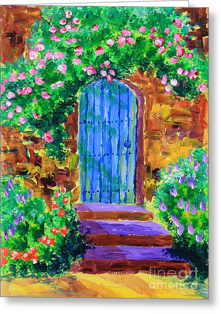 Blue Wooden Door To Secret Rose Garden Greeting Card by Beverly Claire Kaiya