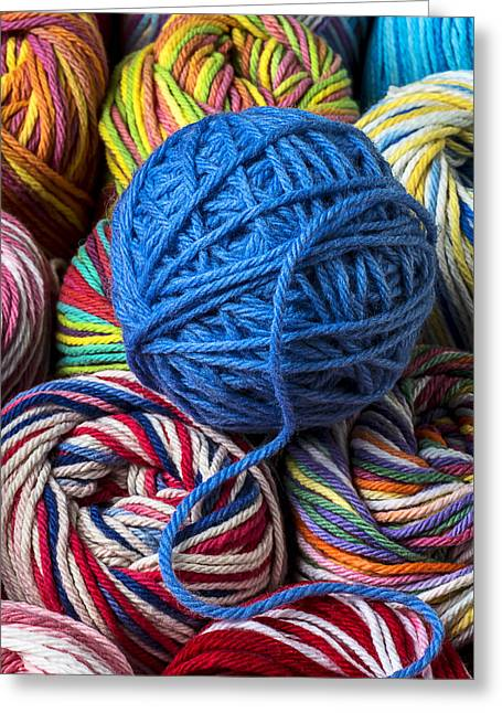 Cotton Balls Greeting Cards - Blue yarn Greeting Card by Garry Gay