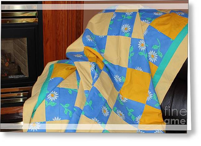 Warm Quilt Tapestries - Textiles Greeting Cards - Blue Yellow and Daisies Patchwork Quilt Greeting Card by Barbara Griffin