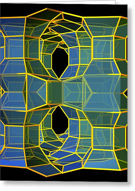 Tortuous Greeting Cards - Blue/Yellow Structure Greeting Card by Kelly Harvey