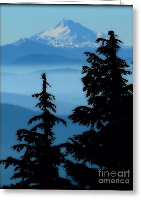 Blue Yonder Mountain Greeting Card by Susan Garren