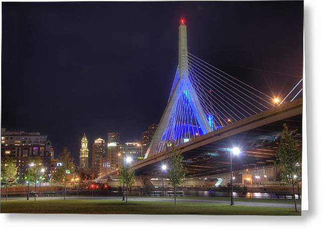 Boston Nights Greeting Cards - Blue Zakim 2 Greeting Card by Joann Vitali