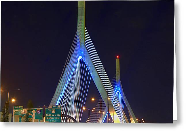Boston Nights Greeting Cards - Blue Zakim Greeting Card by Joann Vitali