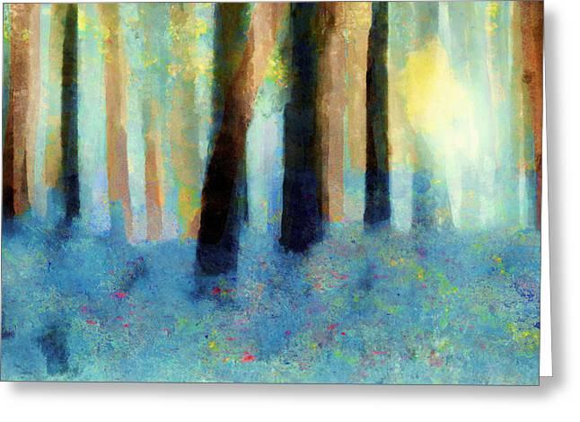 Valerie Anne Kelly Art Greeting Cards - Bluebell Wood Greeting Card by Valerie Anne Kelly