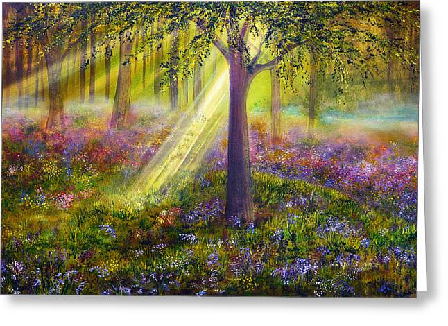 Kinkade Greeting Cards - Bluebell Woods Greeting Card by Ann Marie Bone