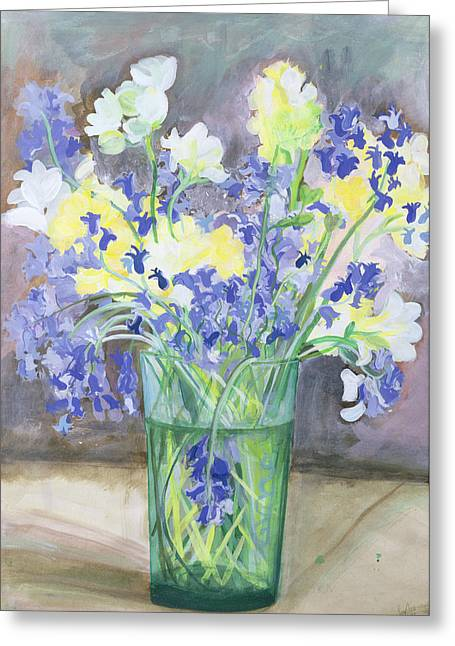 Flower Still Life Greeting Cards - Bluebells and Yellow Flowers Greeting Card by Sophia Elliot