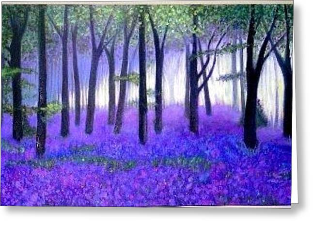 Bluebells forest-Bluebells wood Greeting Card by Marie-Line Vasseur
