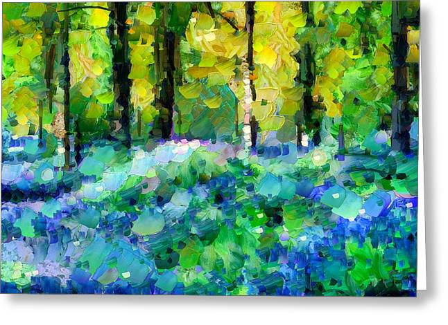 Vivid Greeting Cards - Bluebells In The Forest - Abstract Greeting Card by Georgiana Romanovna