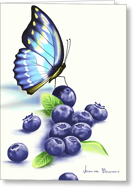 Blueberries And Butterfly Greeting Card by Veronica Minozzi