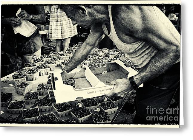 Filmnoir Greeting Cards - Blueberries at the Market New York City Greeting Card by Sabine Jacobs