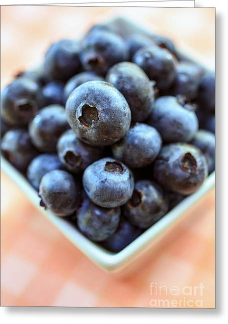 Blueberries Closeup Greeting Card by Edward Fielding