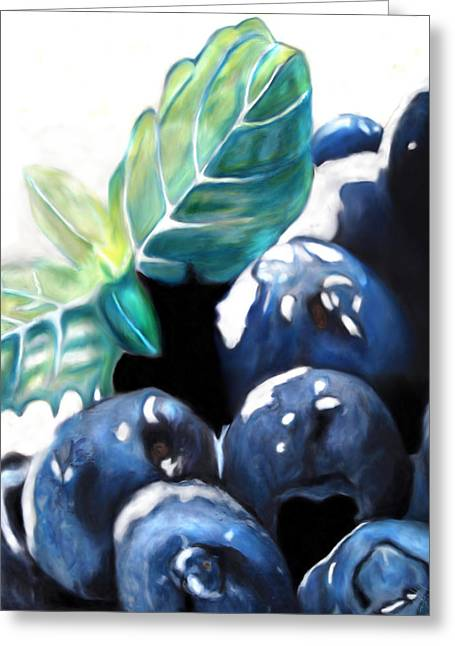 Huckleberry Pastels Greeting Cards - Blueberries in the snow Greeting Card by Michael Amos
