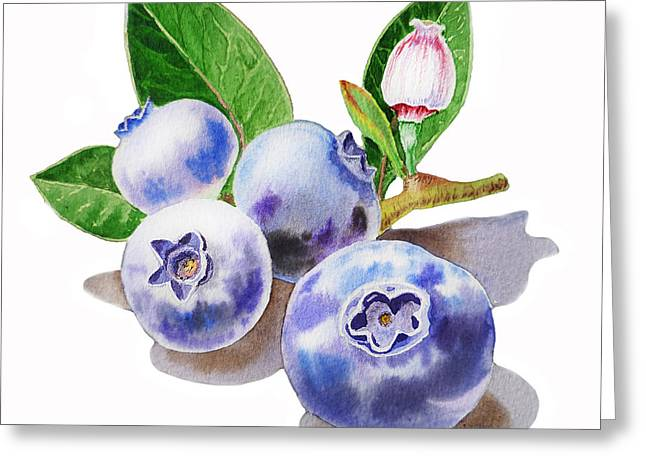 Realistic Watercolor Greeting Cards - ArtZ Vitamins The Blueberries Greeting Card by Irina Sztukowski