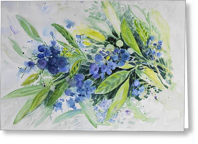 Blueberries Greeting Card by Joanne Smoley