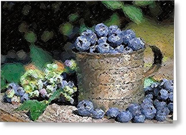 Blueberry Pastels Greeting Cards - Blueberries Greeting Card by Olde Time  Mercantile
