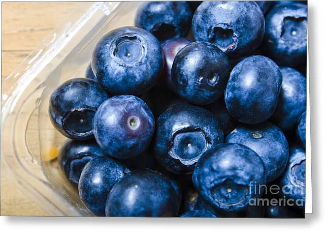 Huckleberry Greeting Cards - Blueberries punnet Greeting Card by Ryan Jorgensen