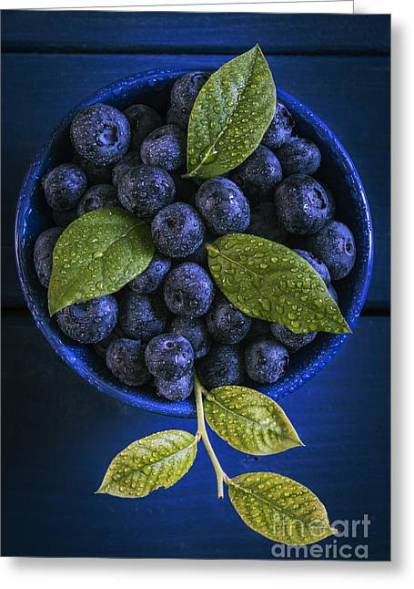 Wooden Bowl Greeting Cards - Blueberries still life Greeting Card by Vishwanath Bhat