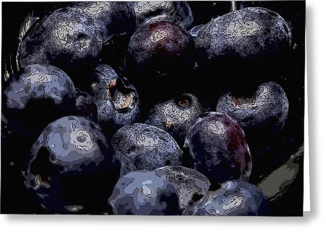 Black Berries Greeting Cards - Blueberries  Greeting Card by Toppart Sweden