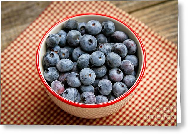 Local Food Greeting Cards - Blueberry Bowl Greeting Card by Carol Sullivan