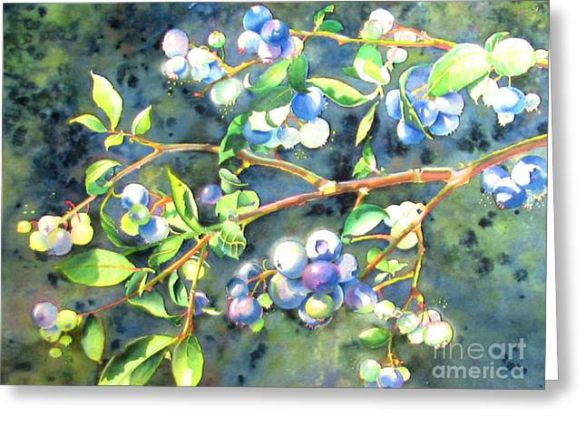 Blueberry Branch 2 Greeting Card by H Cooper