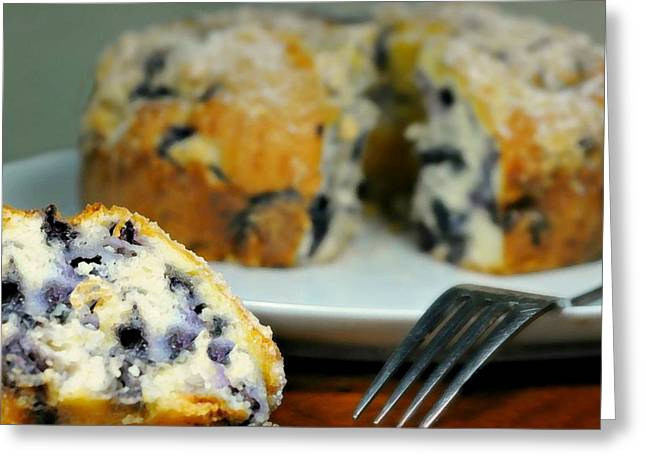 Moist Greeting Cards - Blueberry Bundt Cake Greeting Card by Diana Angstadt