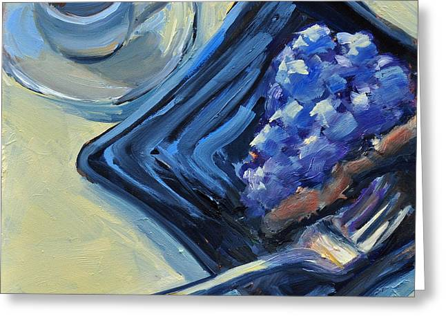 Mary Byrom Greeting Cards - Blueberry Cake and Coffee Greeting Card by Mary Byrom