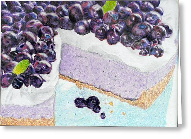 Blueberry Drawings Greeting Cards - Blueberry Cheesecake Greeting Card by Christina Boyt